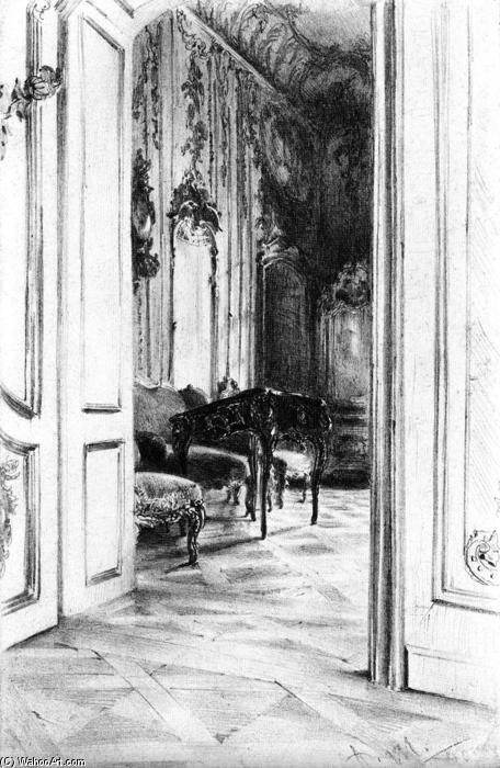 Frederick the Great's Study in the Palace of Potsdam, Pencil by Adolph Menzel (1815-1905, Poland)