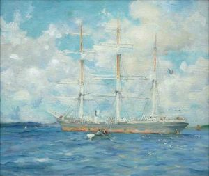 Henry Scott Tuke - French Barque in Falmouth Bay