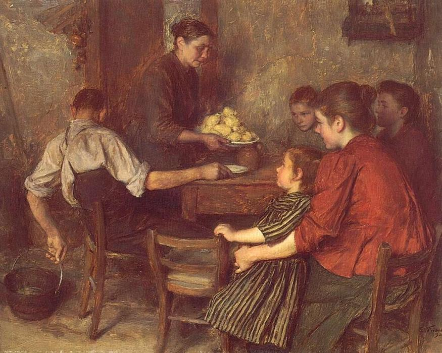 The Frugal Repast by Émile Friant (1863-1932, France)