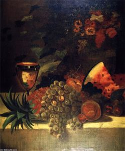William Merritt Chase - Fruit and Flower Still LIfe (B)