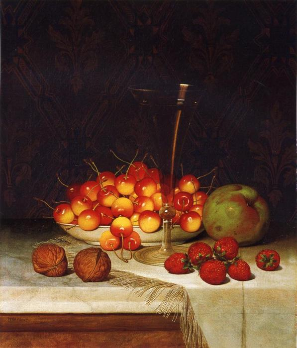 Fruit and Wine, Oil On Canvas by William Mason Brown (1828-1898, United States)