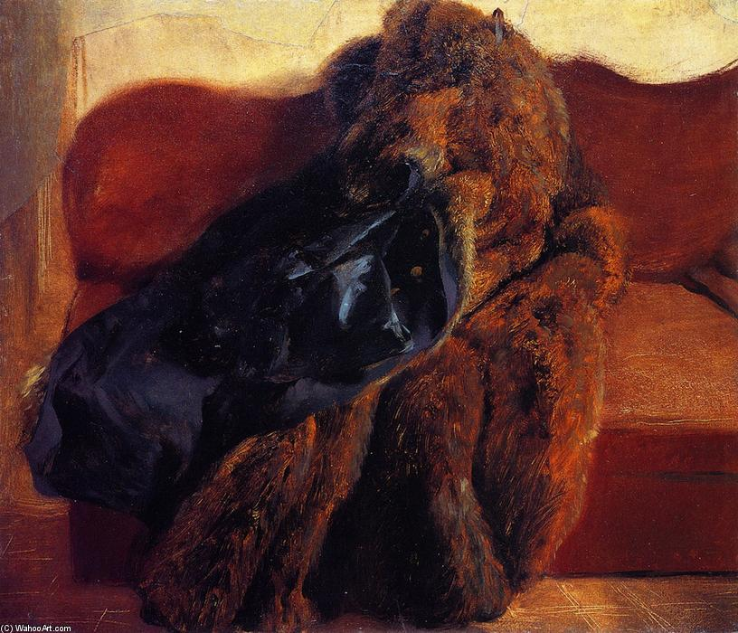Fur Coat on a Sofa (also known as The Artist's Pelisse), Painting by Adolph Menzel (1815-1905, Poland)