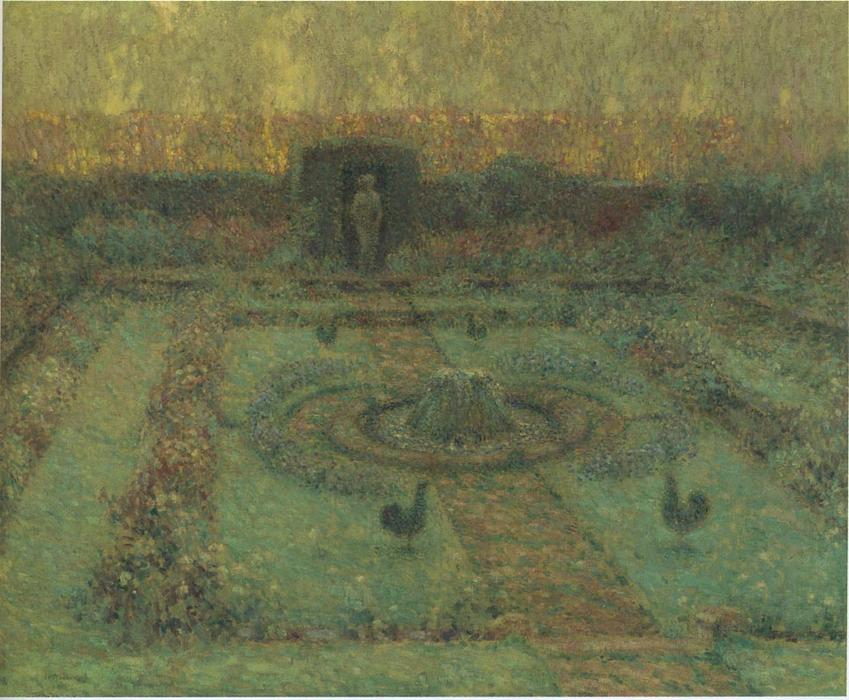 Garden at Hampton Court, Oil On Canvas by Henri Eugène Augustin Le Sidaner (1862-1939, Mauritius)