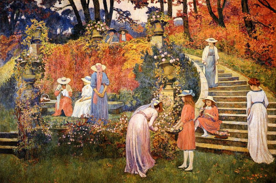 The Garden of Felicien Rops at Essone, 1910 by Theo Van Rysselberghe (1862-1926, Belgium)