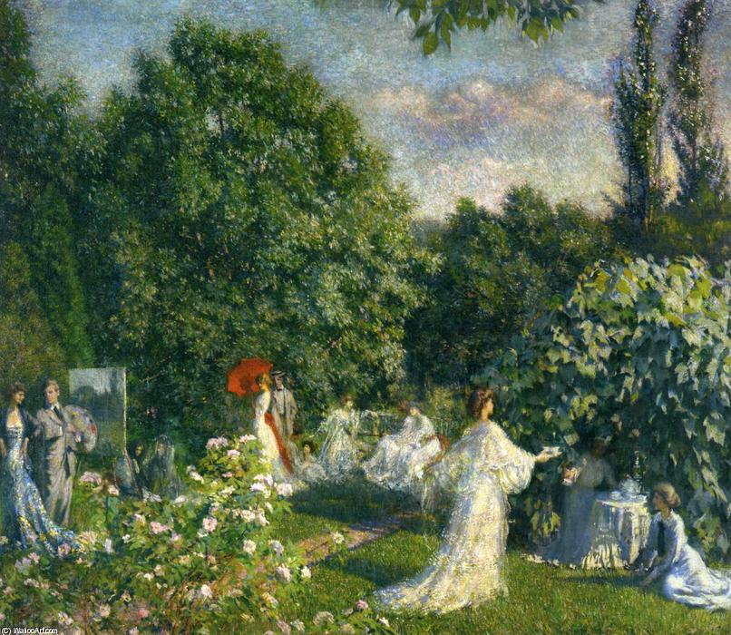 Garden Party, Oil On Canvas by Phillip Leslie Hale (1865-1931, United States)