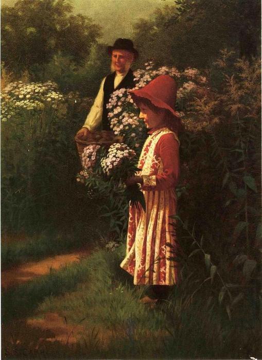 Gathering Flowers, Oil On Canvas by Samuel S Carr (1837-1908, United Kingdom)