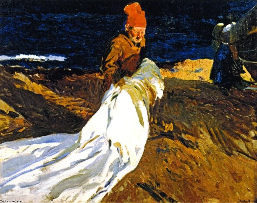 Gathering the Sail, Oil On Canvas by Joaquin Sorolla Y Bastida (1863-1923, Spain)