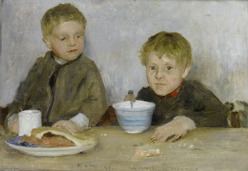 Georgie and Richard, 1889 by Henry Scott Tuke (1858-1929, United Kingdom) | Museum Quality Copies Henry Scott Tuke | ArtsDot.com