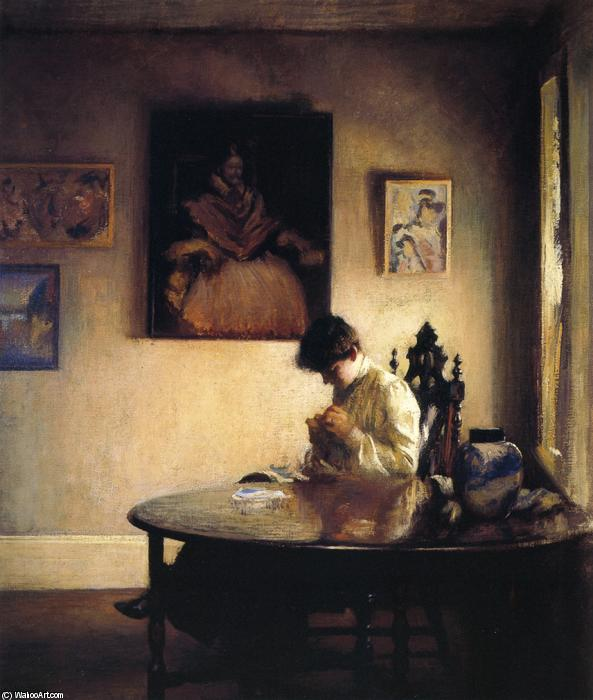 A Girl Crocheting, Oil On Canvas by Edmund Charles Tarbell (1862-1938, United States)