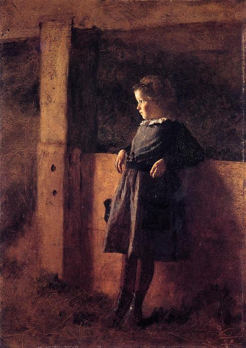 Girl in Barn (also known as Sarah May), Oil On Panel by Jonathan Eastman Johnson (1824-1906, United Kingdom)