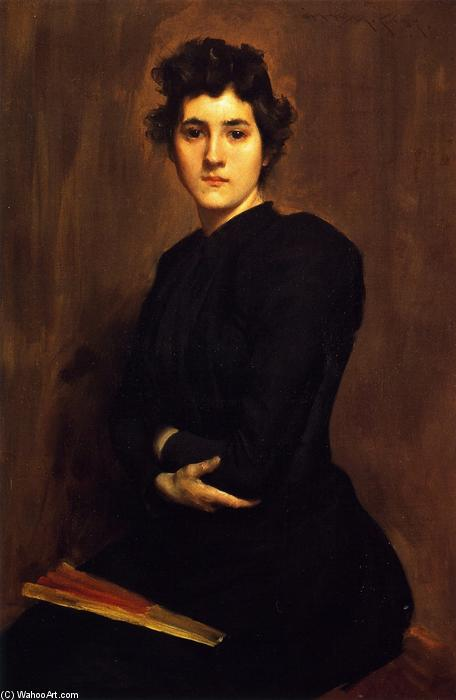 Girl in Black (also known as A Lady in Black), 1892 by William Merritt Chase (1849-1916, United States) | Museum Art Reproductions | ArtsDot.com