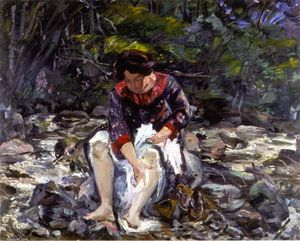 Lovis Corinth (Franz Heinrich Louis) - Girl in the Brook (Charlotte Corinth)