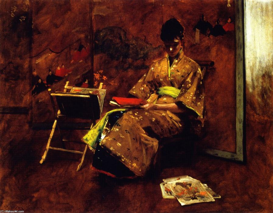 A Girl in Japanese Gown (also known as Girl in Japanese Gown, The Kimono), Oil On Canvas by William Merritt Chase (1849-1916, United States)