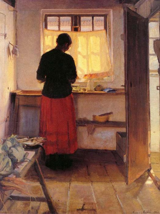 Girl in Kitchen, 1883 by Anna Kirstine Ancher (1859-1935, Denmark) | Museum Art Reproductions | ArtsDot.com