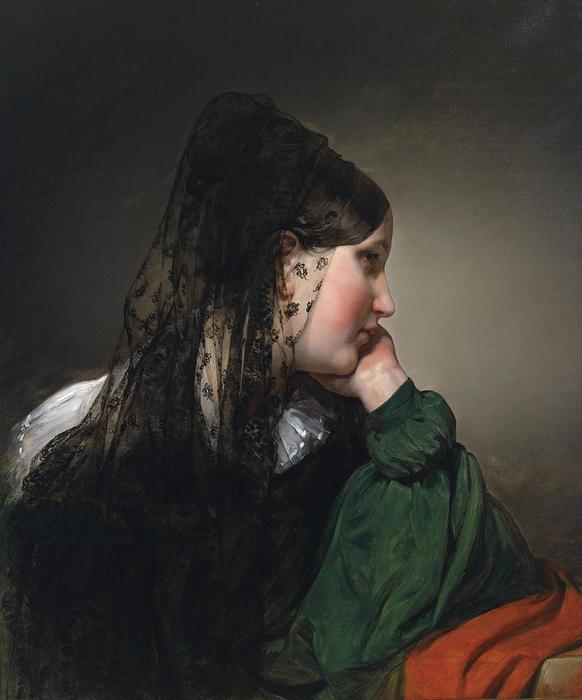 Girl in profile with a black mantilla by Friedrich Ritter Von Amerling (1803-1887) | Museum Quality Reproductions | ArtsDot.com