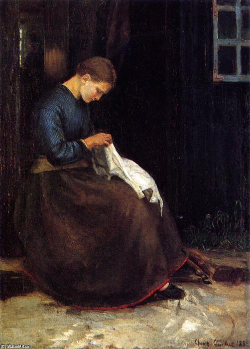 Girl Plucking a Goose, 1879 by Anna Kirstine Ancher (1859-1935, Denmark) | Painting Copy | ArtsDot.com