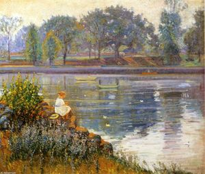 Theodore Wendel - Girl Seated by a Pond