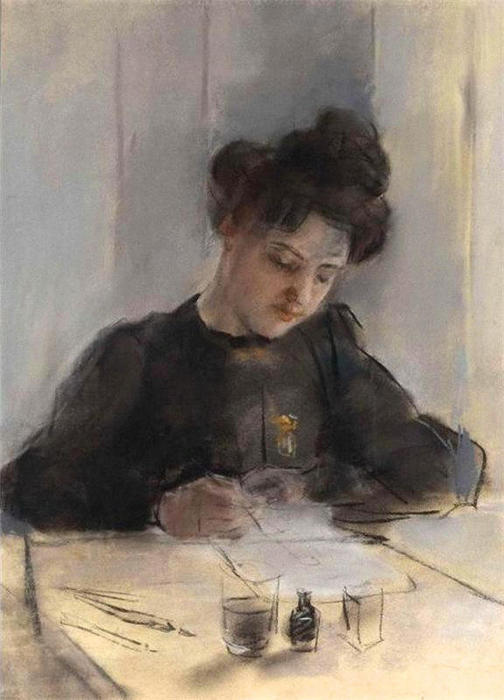 A Girl Sketching by William Newenham Montague Orpen (1878-1931, Ireland)