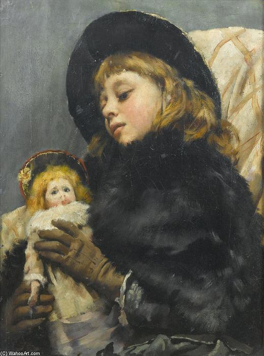 Girl with doll by Thomas Benjamin Kennington (1856-1916, United Kingdom)