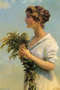 Charles Courtney Curran - Girl with Goldenrod