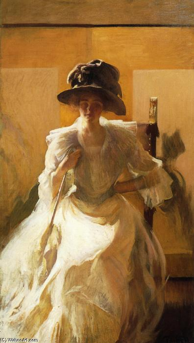 The Golden Screen, Oil On Canvas by Edmund Charles Tarbell (1862-1938, United States)