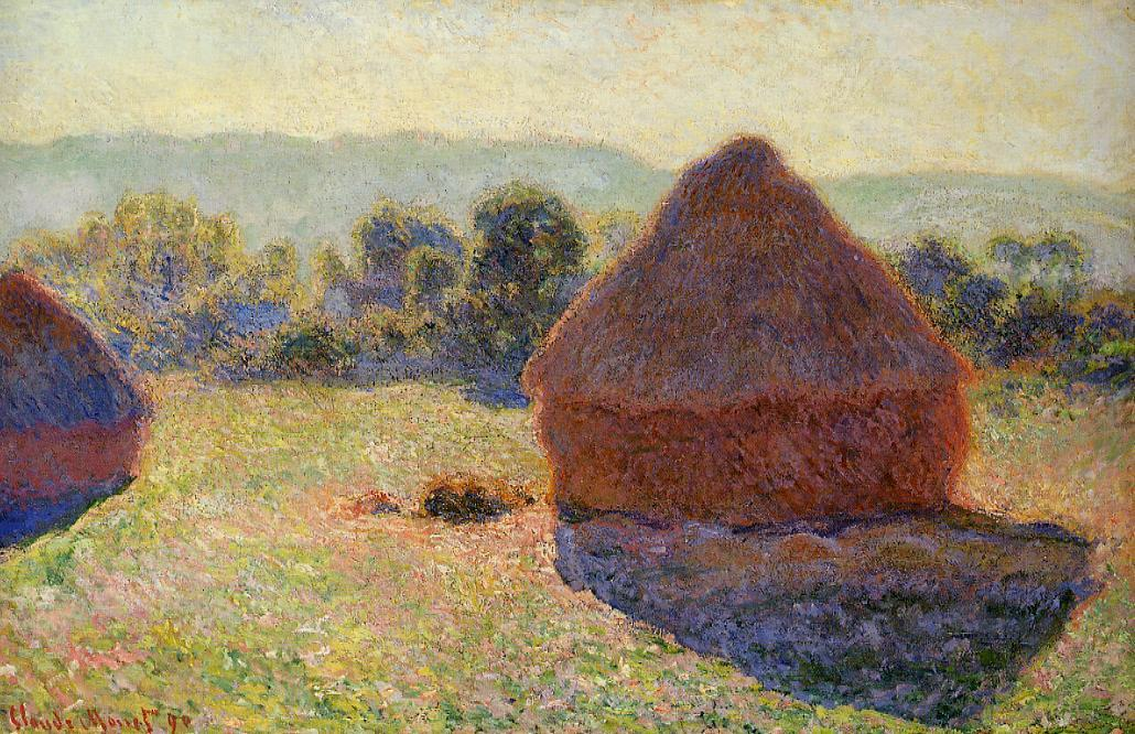 Grainstacks in the Sunlight, Midday, 1890 by Claude Monet (1840-1926, France) | Painting Copy | ArtsDot.com