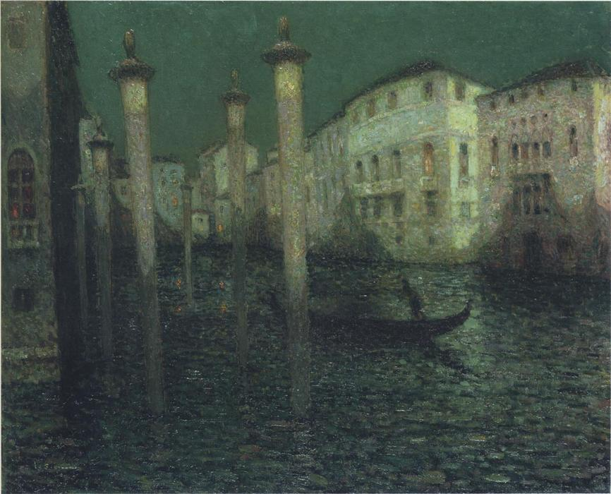 Grand Canal in Venice, Oil On Canvas by Henri Eugène Augustin Le Sidaner (1862-1939, Mauritius)