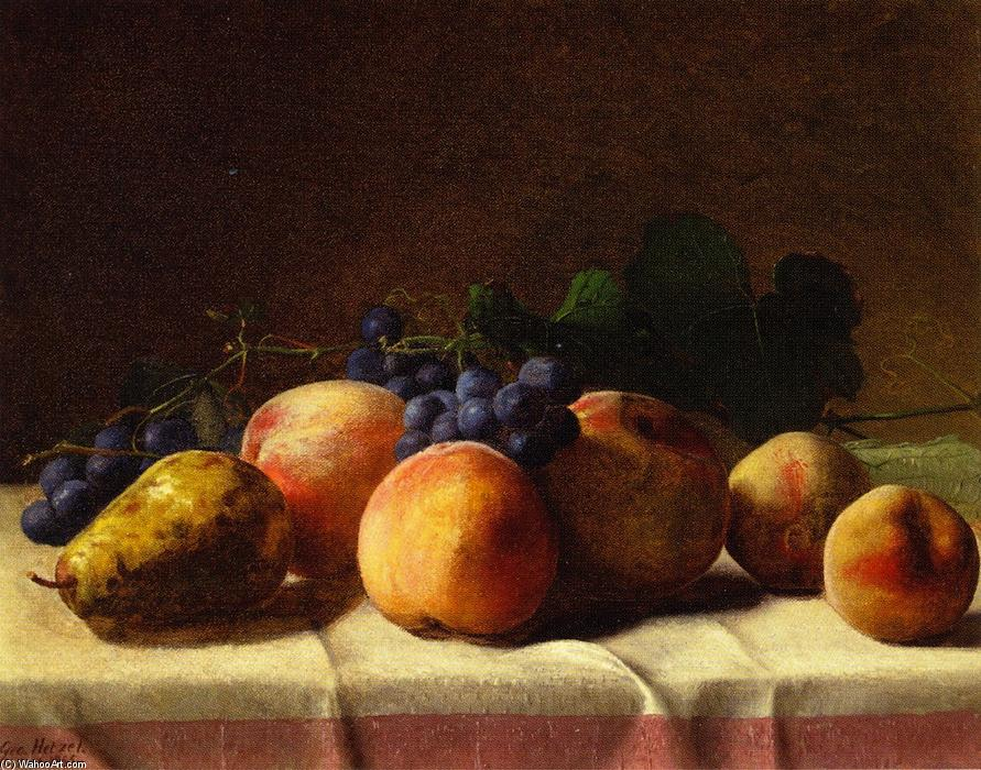 Grapes, Peaches and Pear on a Table, Oil On Canvas by George Hetzel (1826-1899, France)