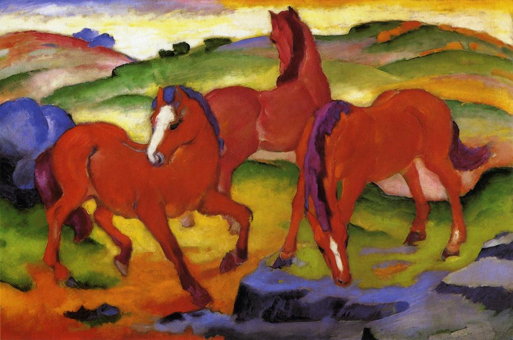 Grazing Horses IV (also known as The Red Horses), 1911 by Franz Marc (1912-1916, Germany) | Art Reproduction | ArtsDot.com