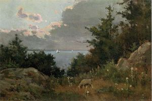 Willard Leroy Metcalf - Grazing sheep on the coast of Maine