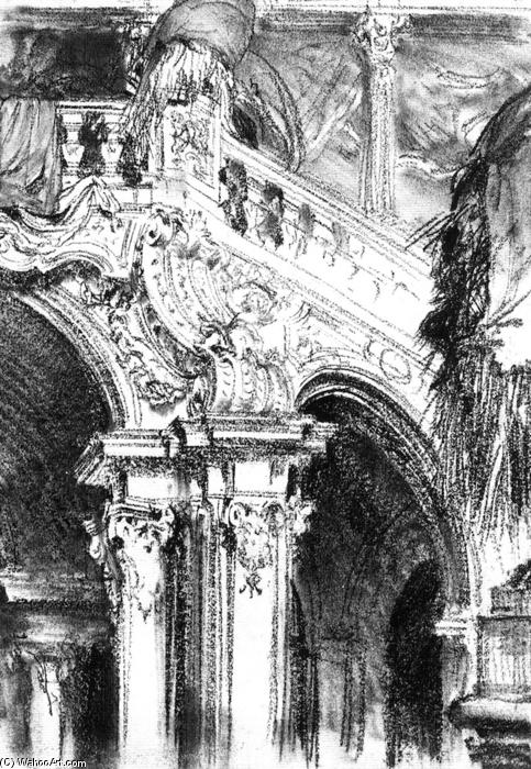 The Great Staircase at the Chateau of Pommersfelden, Pencil by Adolph Von Menzel