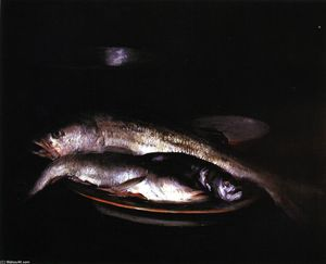 William Merritt Chase - Grey and Silver Fish (also known as Still LIfe - Grey and Silver, Still LIfe with Fish)
