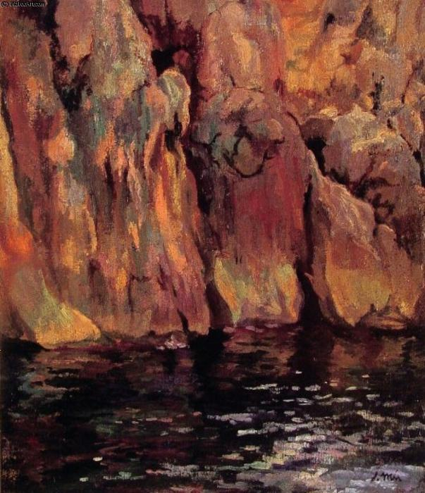 The Grotto by Joaquin Mir Trinxet (1873-1940, Spain)