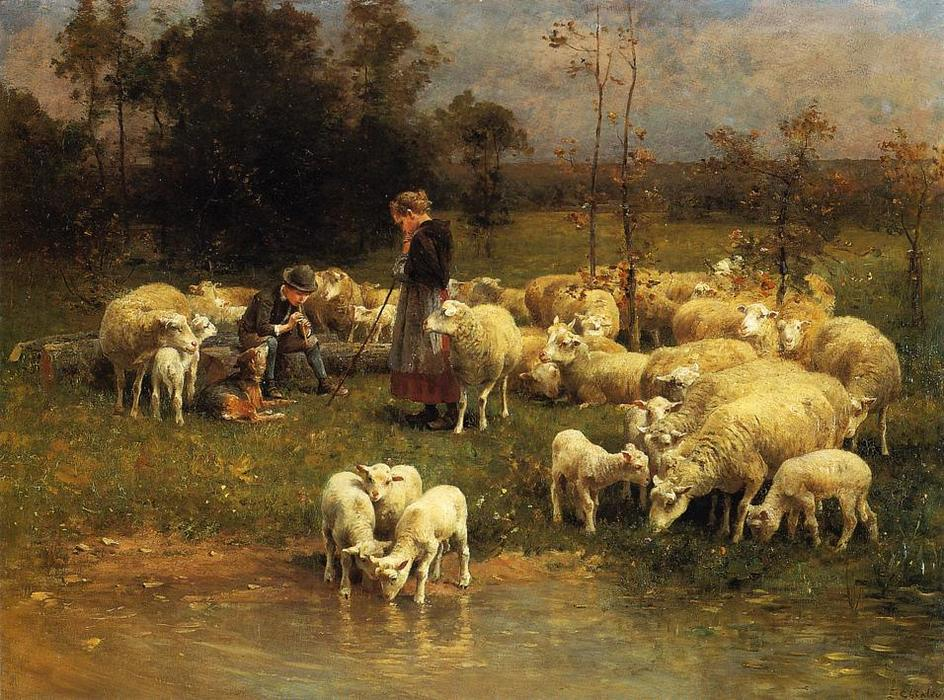 Guarding the Flock, Oil On Panel by Charles Émile Jacque (1813-1894, France)
