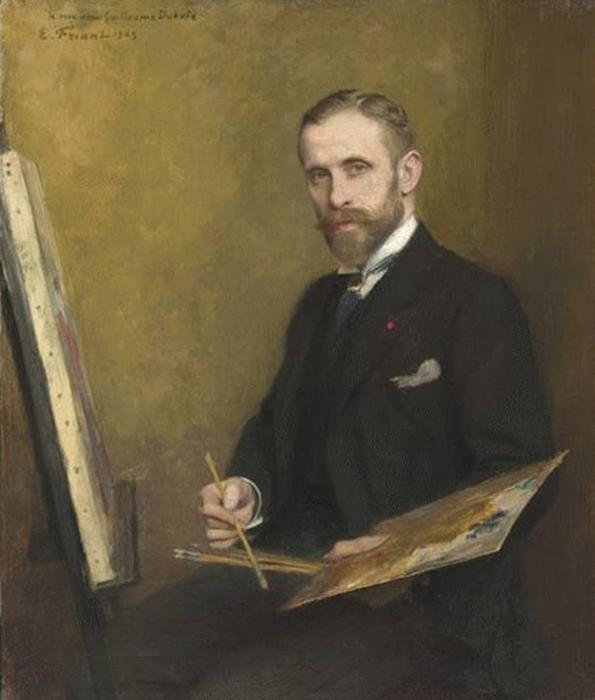 Guillaume Dubufe, Oil On Panel by Émile Friant (1863-1932, France)