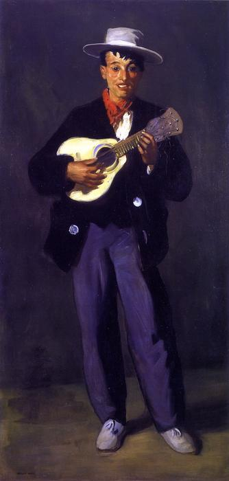 Gypsy with Guitar (Gitano), Oil On Canvas by Philip Leslie Hale