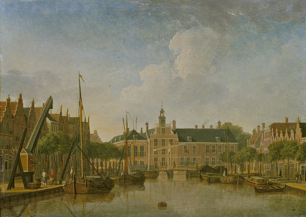 The Hague, the Bierkade and Groenewegje with a view on the Spui, Oil On Panel by Jan Ten Compe (1713-1761, Netherlands)