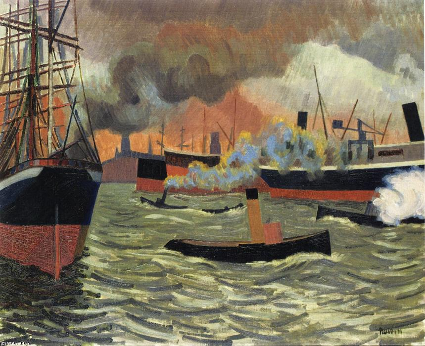 Hamburg's Port, Oil On Canvas by Auguste Herbin (1882-1960, France)