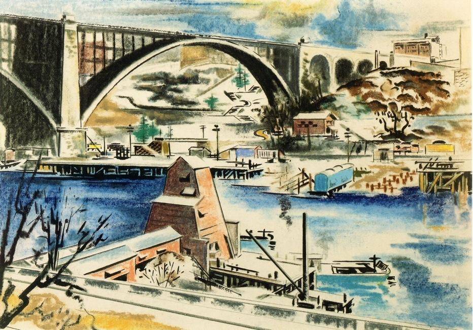 Harlem River, Drawing by William Preston Dickinson (1889-1930, United States)