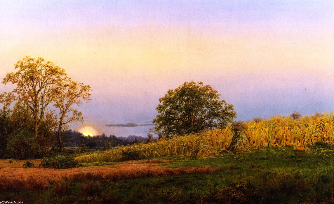 The Harvest Moon, Oil On Panel by Louis Remy Mignot (1831-1870, United States)