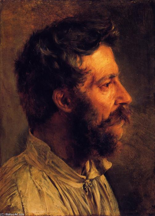 Head of a Bearded Workman in Profile, Oil On Canvas by Adolph Menzel (1815-1905, Poland)