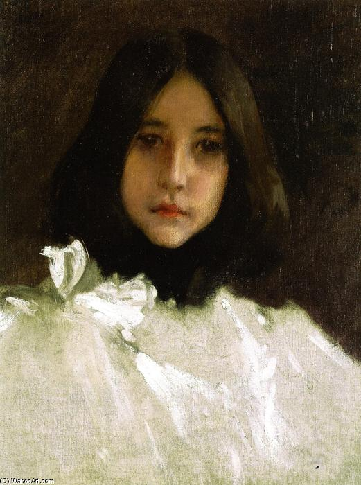 Head of a Girl (also known as The Artist's Daughter), Oil On Canvas by William Merritt Chase (1849-1916, United States)