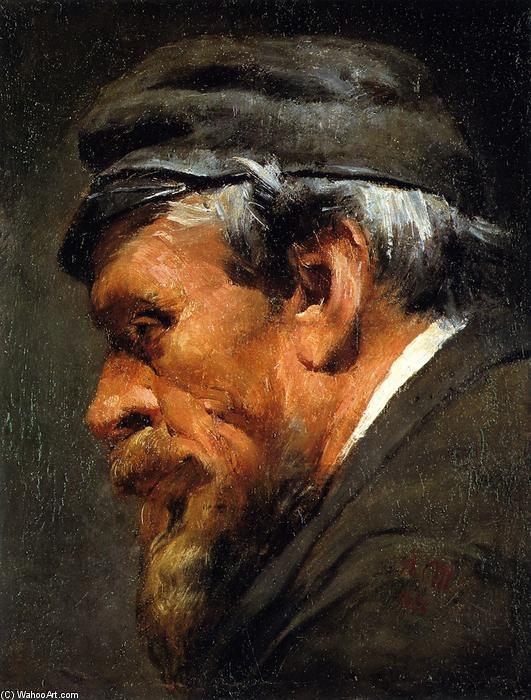 Head of a Worker Wearing a Cap, Oil On Canvas by Adolph Menzel (1815-1905, Poland)