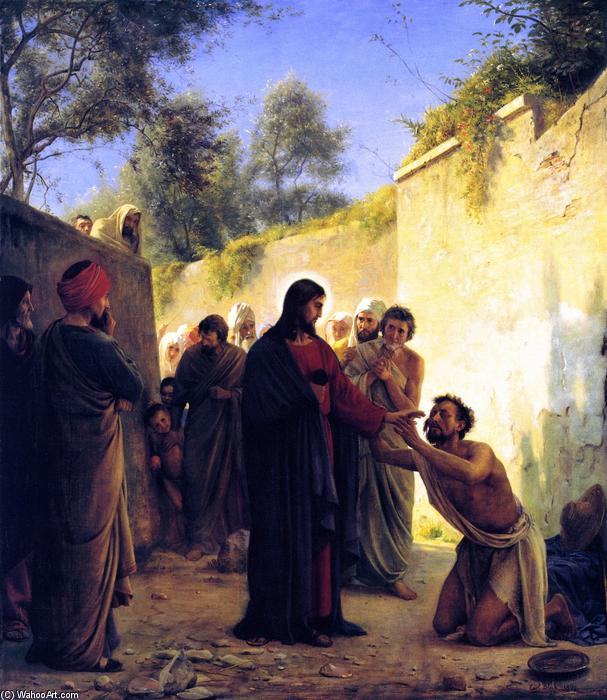 Healing of the Blind Man, Painting by Carl Heinrich Bloch (1834-1890, Denmark)
