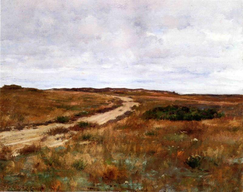 A Hinterland Landscape with Road (also known as Shinnecock), Oil On Canvas by William Merritt Chase (1849-1916, United States)