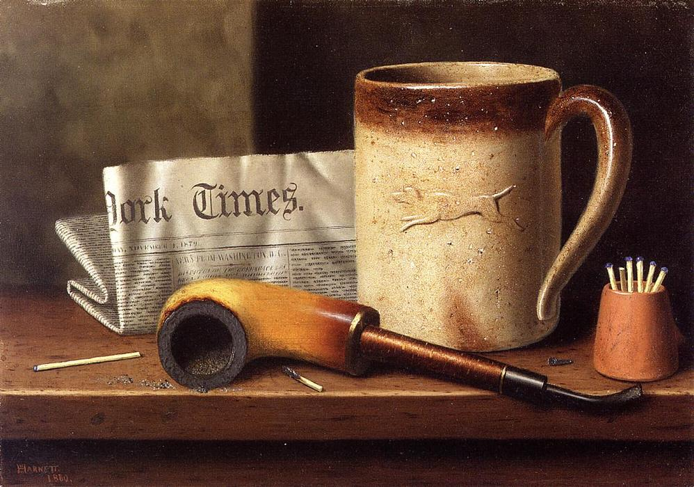 His Mug and His Pipe, Oil On Canvas by William Michael Harnett (1848-1892, Ireland)
