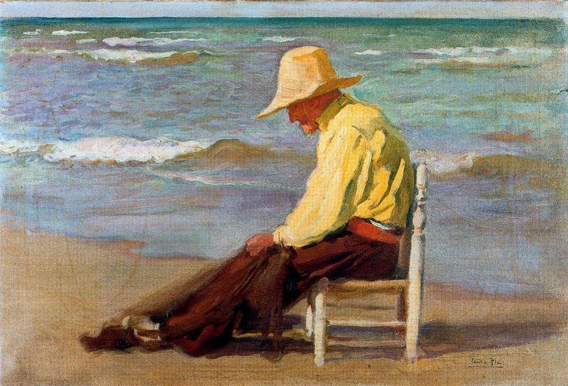 Hombre en la Playa, Oil On Panel by Cecilio Pla Y Gallardo (1860-1934, Spain)