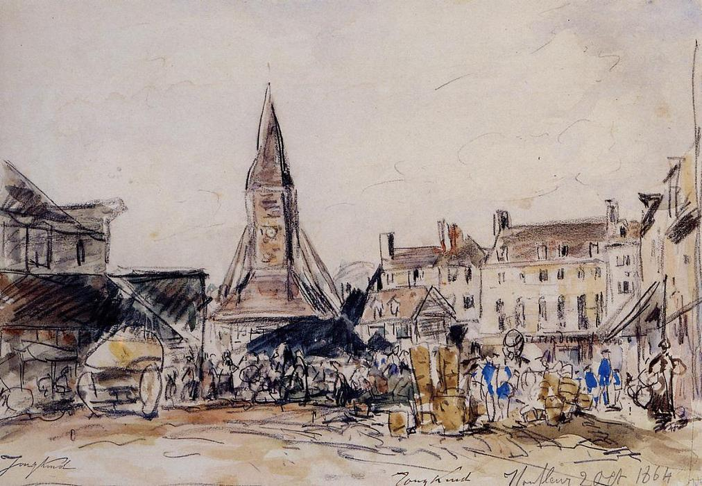 Honfleur, Market Place, Watercolour by Johan Barthold Jongkind (1819-1891, Netherlands)