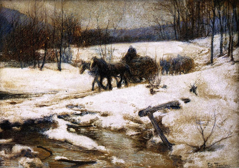 Horse Drawn Carts in Winter by Frits Thaulow (1847-1906, Norway) | Painting Copy | ArtsDot.com