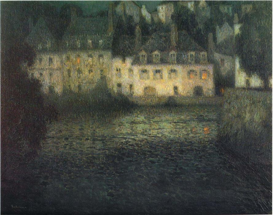 House by the river in full moon, Oil On Canvas by Henri Eugène Augustin Le Sidaner (1862-1939, Mauritius)